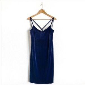 NWT WHBM Blue Onyx Velvet Slip Dress Sz XXS